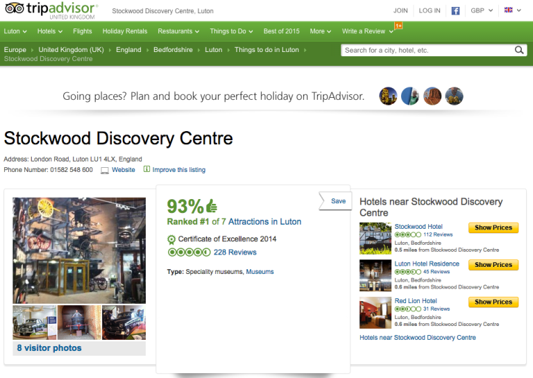 Trip Advisor page for Stockwood Discovery Centre