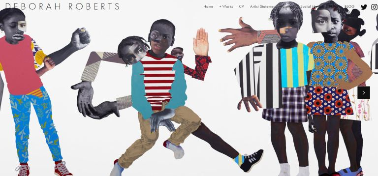 A screen shot of Deborah Roberts website with collages depicting black children with colourful clothing